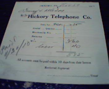 Bill For Hickory Telephone Company 11/29/10