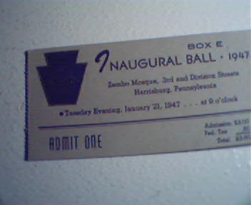 Ticket from Inagural Ball of Zembo Mosque,PA