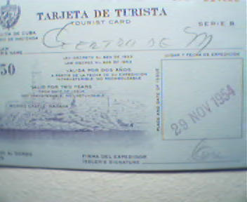 Tourist Card from the Republic of Cuba