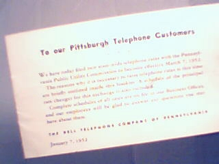 Brochure from Bell Telephone to Pittsburgh PA Cust!