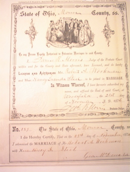 crowntiques.com: 1876 Ohio State Marriage Certificate