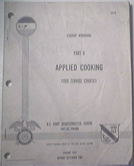 U.S. Army 1967 Student Workbook Part II APPLIED COOKING
