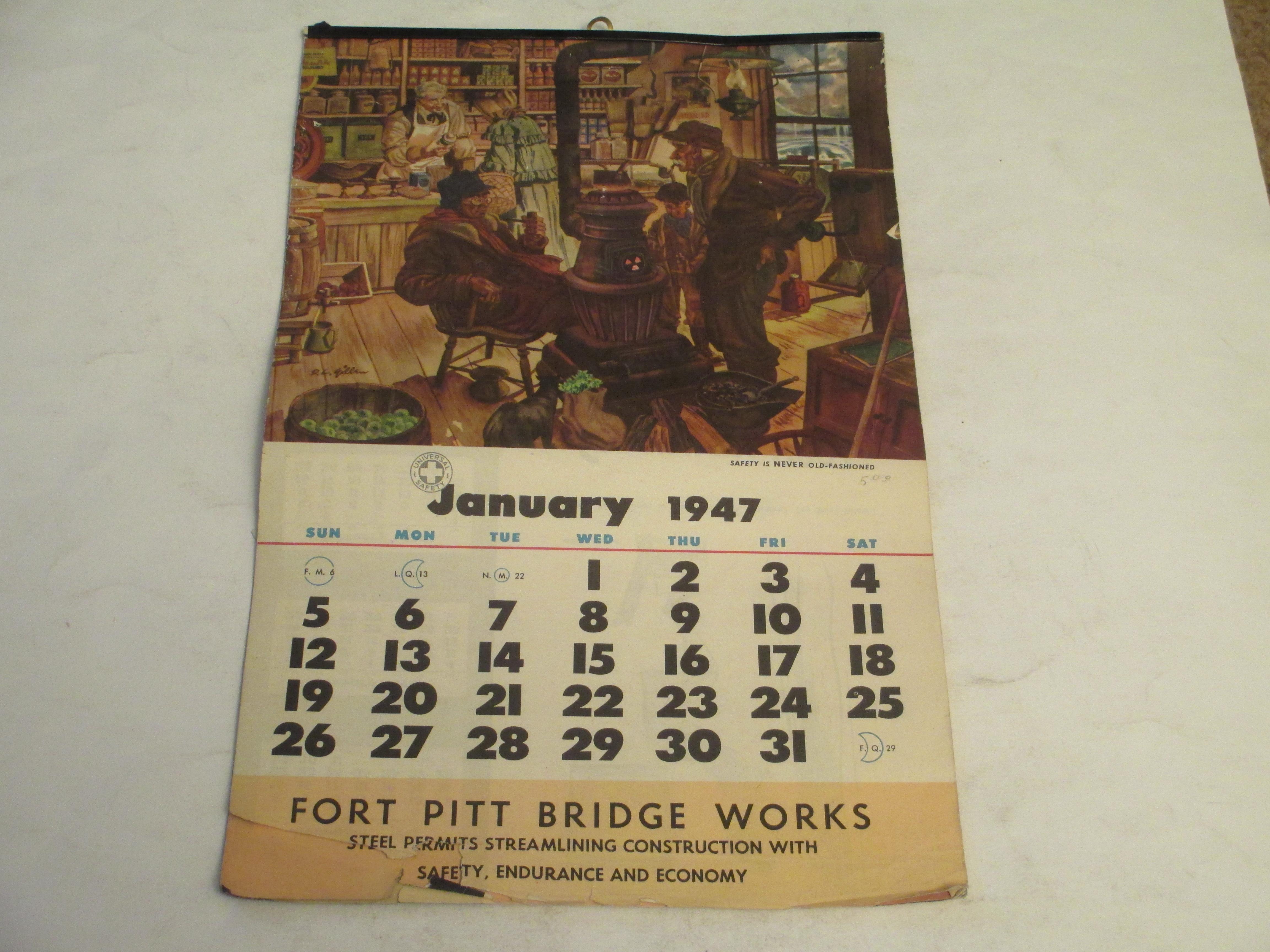 Crowntiques Com Fort Pitt Bridge Works 1947 Wall Calendar